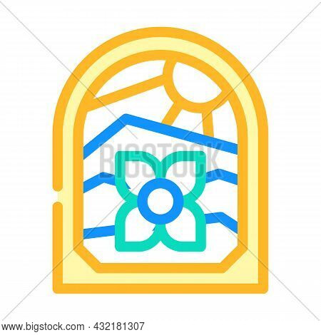 Stained Glass Color Icon Vector. Stained Glass Sign. Isolated Symbol Illustration