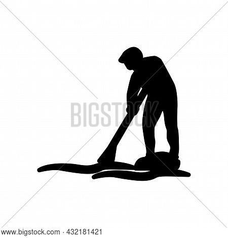 Rowing Man Vector Silhouette. Rowing Simple Isolated Icon.