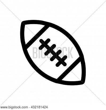 American Football Ball Vector Line Icon. Aamerican Football Ball Linear Outline Icon.