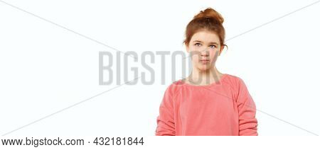 Cute Teen Girl Standing Alone Feeling Upset, Frustrated And Disappointed, Looking Aside, Thinking Ab