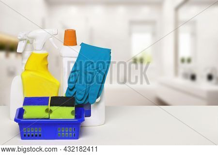 Household Cleanliness And Hygiene. Close-up Of House Cleaning Products And Cleaning Supplies On A Wh