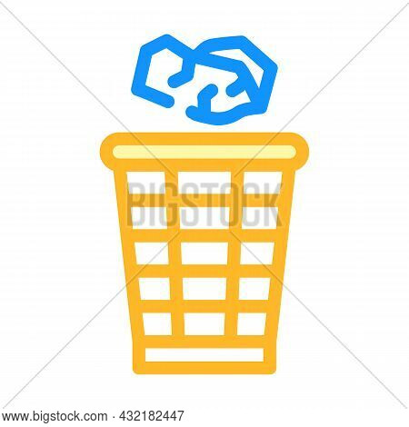 Throwing Rubbish Color Icon Vector. Throwing Rubbish Sign. Isolated Symbol Illustration