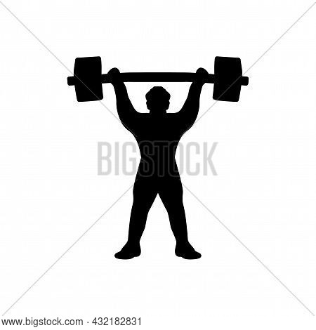 Silhouette Of Weightlifter With Barbell. Black And White Drawing On A White Background