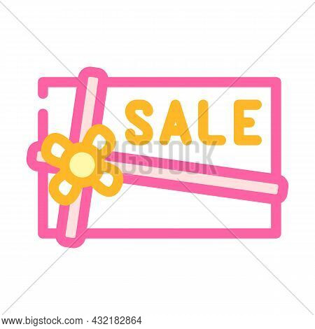 Present Sale Card Color Icon Vector. Present Sale Card Sign. Isolated Symbol Illustration