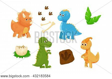 Set Cute Baby Dinosaurs With Dino Egg, Footprint, Jurassic Leaves And Bones In Cartoon Style Childis