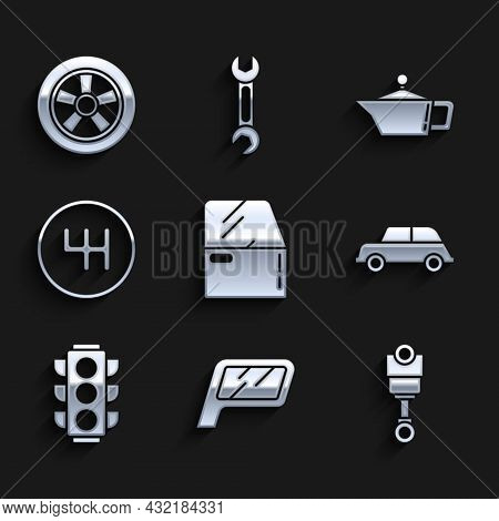 Set Car Door, Mirror, Engine Piston, Traffic Light, Gear Shifter, Canister For Motor Machine Oil And