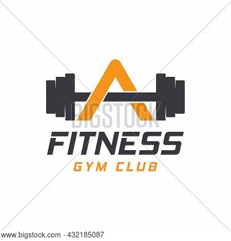 Letter A Logo With Barbell. Fitness Gym Logo. Fitness Vector Logo Design For Gym And Fitness.