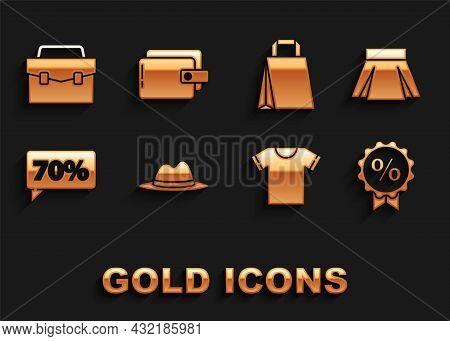 Set Man Hat With Ribbon, Skirt, Discount Percent Tag, T-shirt, Seventy Discount, Paper Shopping Bag,