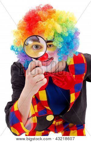 Clown With Magnifying Glass