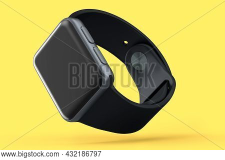 Stainless Silver Smart Watch With Black Leather Strap Isolated On Yellow Background. 3d Rendering Co