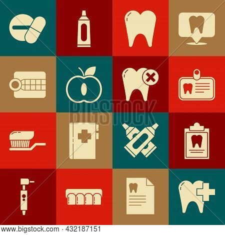 Set Dental Clinic For Dental Care Tooth, Clipboard With Card, Id, Tooth, Apple, Dentures Model, Medi