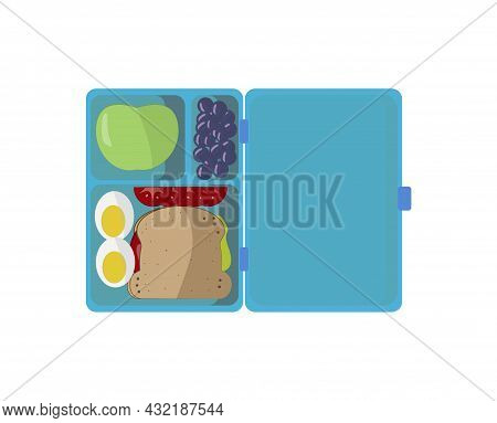 School Lunch. Food Box On White Background. Sandwich With Egg, Apple, Vegetables And Berries. Snack