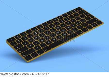 Modern Gold Aluminum Computer Keyboard Isolated On Blue Background. 3d Rendering Of Gear For Home Of