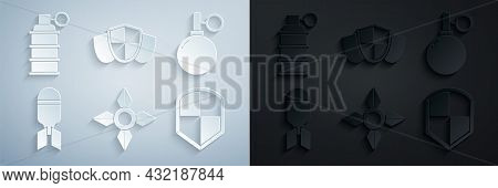 Set Japanese Ninja Shuriken, Hand Grenade, Aviation Bomb, Shield, And Icon. Vector