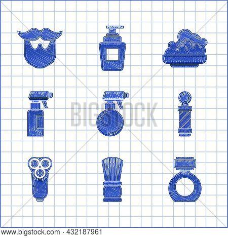 Set Hairdresser Pistol Spray Bottle, Shaving Brush, Aftershave, Classic Barber Shop Pole, Electric R