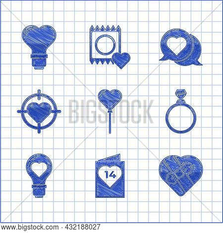 Set Balloons In Form Of Heart, Valentines Day Flyer With, Candy Shaped Box, Diamond Engagement Ring,