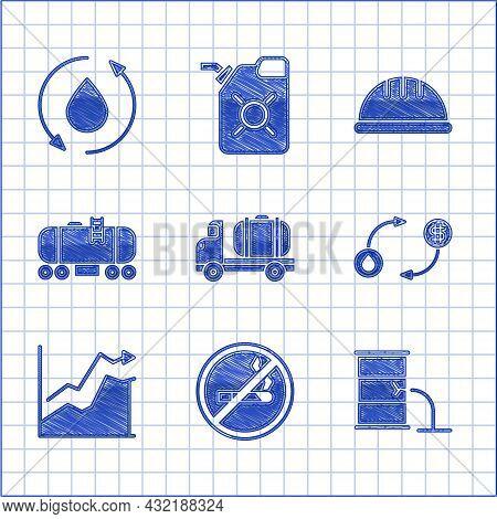 Set Tanker Truck, No Smoking, Barrel Oil Leak, Oil Exchange, Price Increase, Railway Cistern, Worker