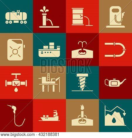 Set Drop In Crude Oil Price, Canister For Motor, Industry Pipe, Barrel Leak, Oil Tanker Ship, Railwa