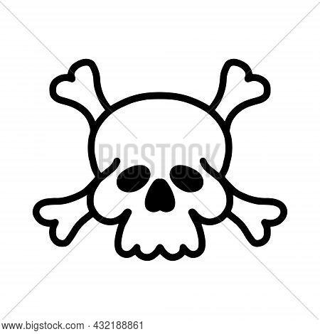 Vector Linear Skull Icon, Black Outline, White Background.