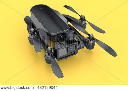 Flying Photo And Video Black Drone Or Quadcopter With Action Camera Isolated On Yellow Background. 3