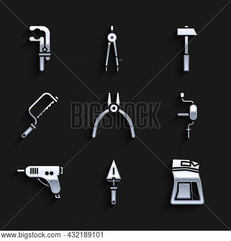 Set Pliers Tool, Trowel, Cement Bag, Hand Drill, Electric Hot Glue Gun, Hacksaw, Hammer And Clamp Ic