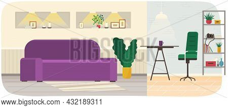 Room Interior With Colorful Sofa, Plants, Table And Chair For Relaxing And Podcasting. Room For Inte