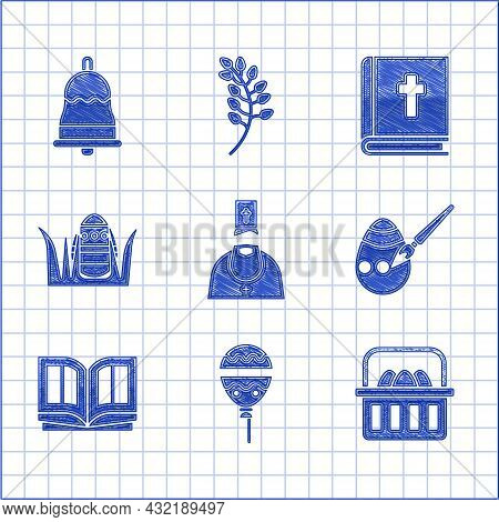 Set Priest, Balloons With Ribbon, Basket Easter Eggs, Easter And Paint Brush, Holy Bible Book, And R