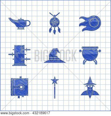 Set Witch Hat, Magic Wand, Wizard Warlock, Cauldron, Ancient Magic Book, Trunk For Tricks, Fireball