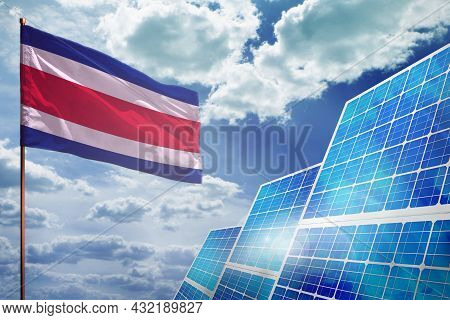 Costa Rica Solar Energy, Alternative Energy Industrial Concept With Flag - Fight With Global Warming