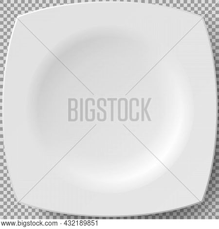 Empty White Porcelain Plate. Square Plate For Serving Dishes. Cookware, China, Crockery Element Isol