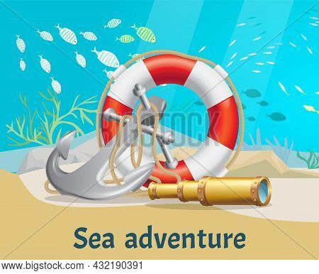 Exciting Sea Adventures And Tourism Poster. Marine Cruise And Sea Travelling Advertising Placard Wit