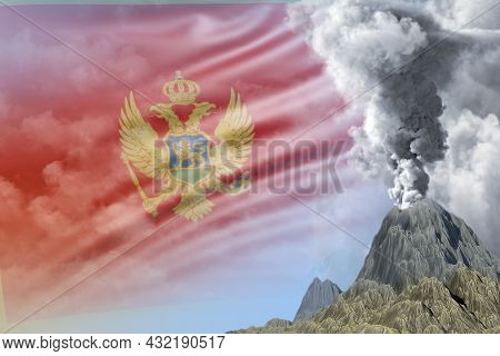 Conical Volcano Eruption At Day Time With White Smoke On Montenegro Flag Background, Suffer From Nat