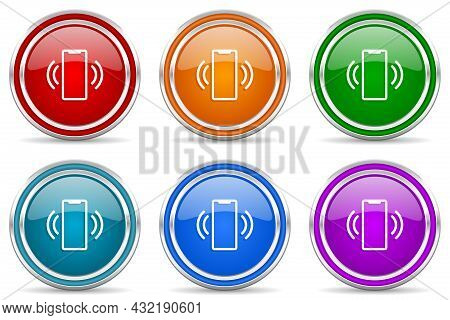 Mobile Phone, Smartphone Silver Metallic Glossy Icons, Set Of Modern Design Buttons For Web, Interne