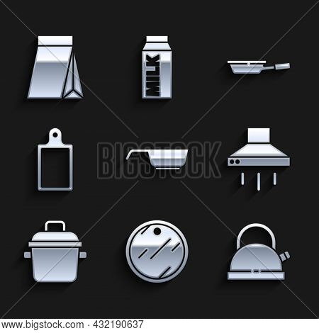 Set Frying Pan, Cutting Board, Kettle With Handle, Kitchen Extractor Fan, Cooking Pot, And Bag Of Co