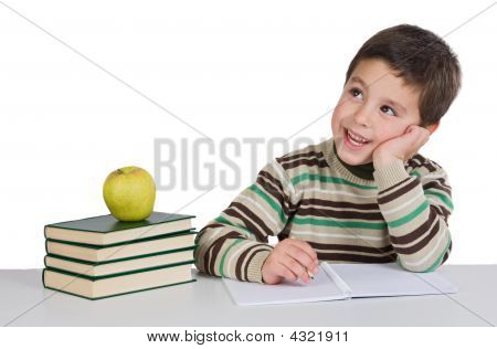 Adorable Child Thinking In The School