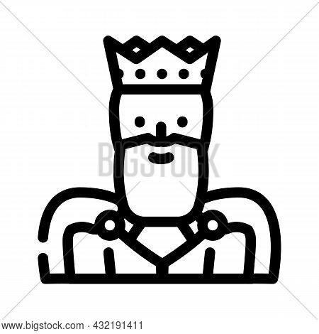 King Man Line Icon Vector. King Man Sign. Isolated Contour Symbol Black Illustration