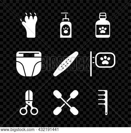 Set Paw Print, Pet Shampoo, Dog Medicine Bottle, Scissors Hairdresser, Cotton Swab For Ears, Hair Br