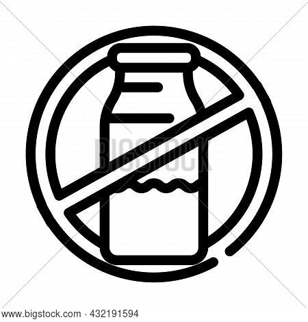 Lactose Dairy Product Free Line Icon Vector. Lactose Dairy Product Free Sign. Isolated Contour Symbo