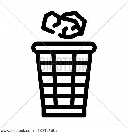 Throwing Rubbish Line Icon Vector. Throwing Rubbish Sign. Isolated Contour Symbol Black Illustration