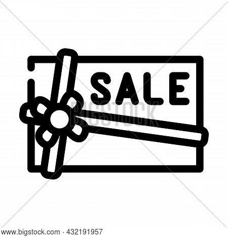Present Sale Card Line Icon Vector. Present Sale Card Sign. Isolated Contour Symbol Black Illustrati