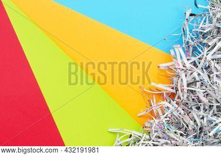 The Shredded Paper On Light Multicolor Background.