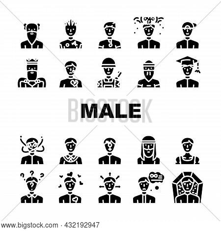 Male Business And Expression Icons Set Vector. Madness And Lovely Male, Choice Of Direction And Brai