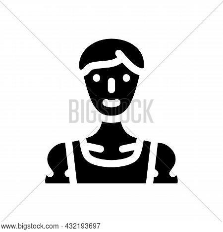 Sportsman Athlete Man Glyph Icon Vector. Sportsman Athlete Man Sign. Isolated Contour Symbol Black I