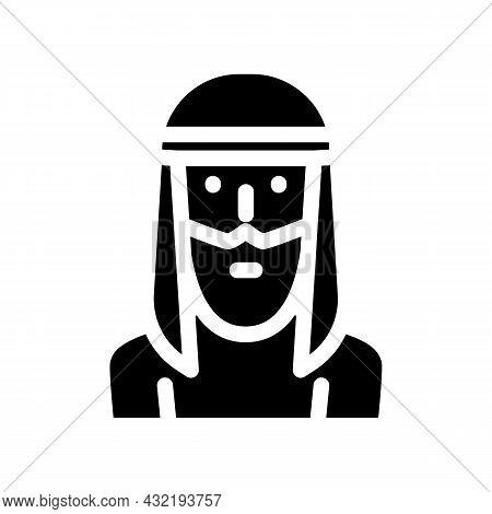 Arab Muslim Guy Glyph Icon Vector. Arab Muslim Guy Sign. Isolated Contour Symbol Black Illustration