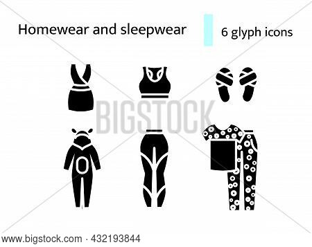 Homewear And Sleepwear Glyph Icons Set. Comfortable Clothes. Domestic Dress. Slippers, Jumpsuit. Bla