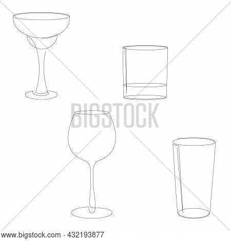 One Line Empty Cocktail Glass Set. Margarita, Old Fashioned Glass Or Rocks, Wineglass And Highball O