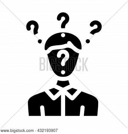 Searching Answers Male Glyph Icon Vector. Searching Answers Male Sign. Isolated Contour Symbol Black