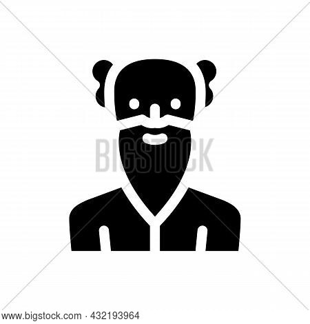 Old Age Man Glyph Icon Vector. Old Age Man Sign. Isolated Contour Symbol Black Illustration