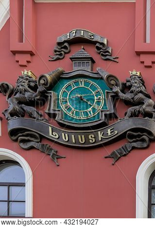 Lviv, Ukraine - October 25, 2020: The Unique Clock Is Located On A Fragment Of An Old Industrial Bre