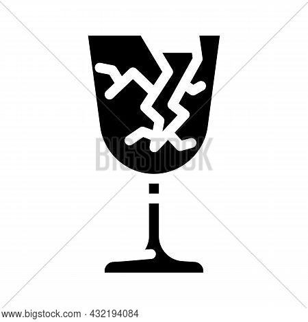 Fragile Mark Glyph Icon Vector. Fragile Mark Sign. Isolated Contour Symbol Black Illustration